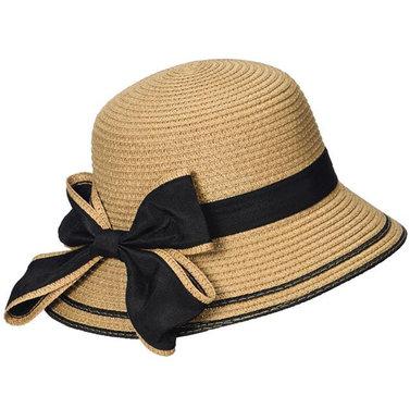 Elegante dameshoed van toyostro kleur camel met zwarte strik