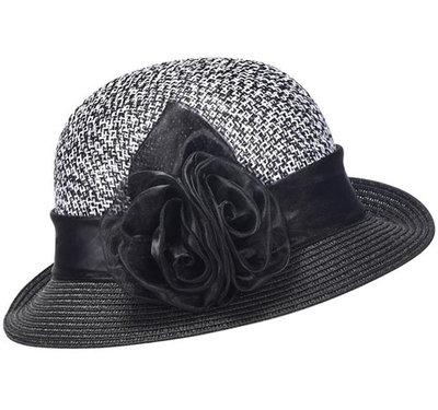 Cloche jaren 20 style van toyostro kleur zwart wit met roosversiering