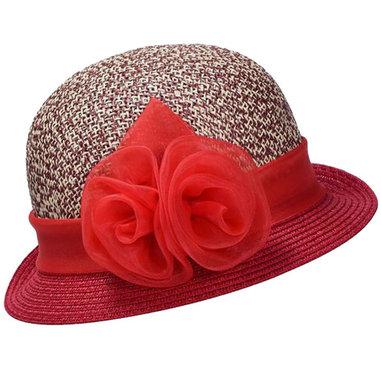 Cloche jaren 20 style van toyostro kleur rood met bloem