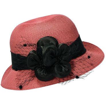 Cloche jaren 20 style van toyostro kleur koraal zalm met bloemversiering met netje