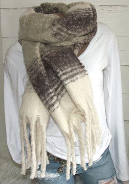 Warme winter damessjaal bruin taupe offwhite