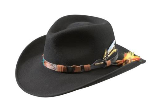 Prachtige zwarte Stetson vitafelt crushable western style hoed