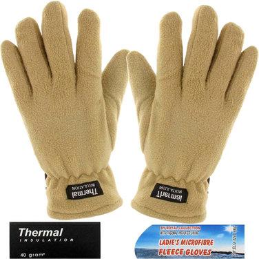 Thermal fleece handschoenen kleur beige