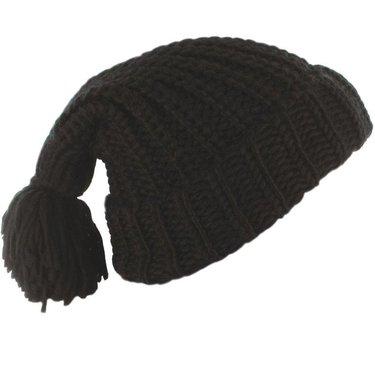 Leuke oversized muts met grote pompon kleur zwart