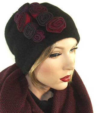 Prachtige wollen winter damesmuts hoedje versiering