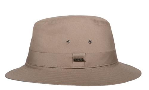 Hatland Ranfield katoenen hoed crushable met UV protectie 50+ kleur beige