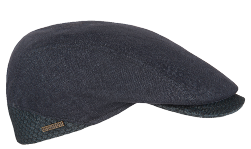 Hatland VADIM zomerse flatcap van 100% linnen kleur zwart
