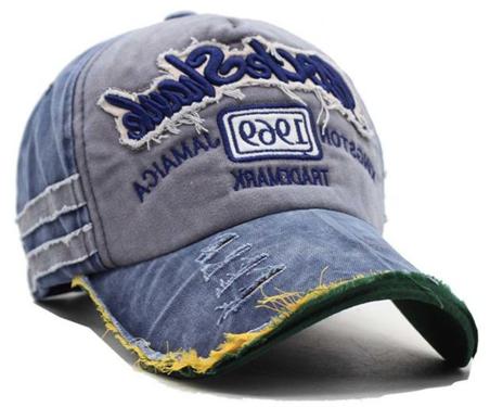 Washed Vintage Distressed Baseball cap met patches Jamaica kleur blauw