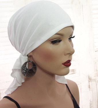Witte voorgevormde bandana voor chemo haarverlies