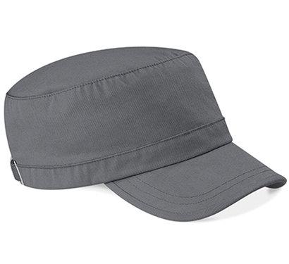 Katoenen army cap van Beechfield kleur grijs