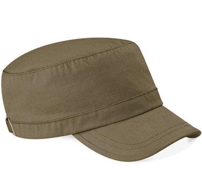 Katoenen army cap van Beechfield kleur khaki