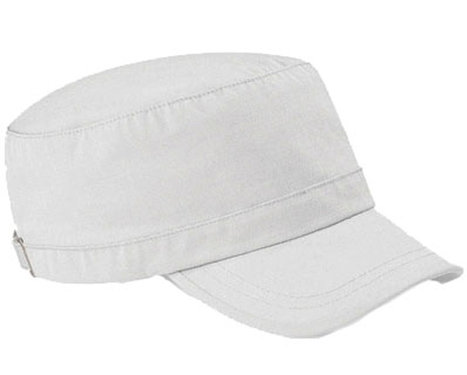 Katoenen army cap van Beechfield kleur wit