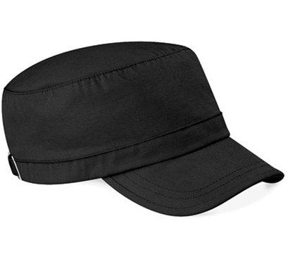 Katoenen army cap van Beechfield kleur zwart