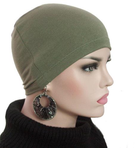 Basismuts kleur olive voor chemo haarverlies