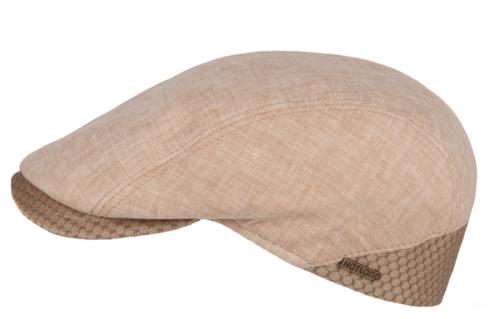 Hatland VADIM zomerse flatcap van 100% linnen kleur beige