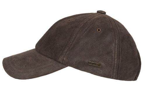 Hatland Stud geruwd leren cap kleur bruin