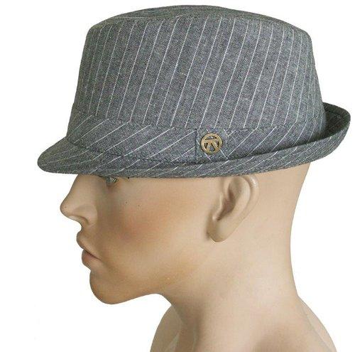 Bellamy klein hoedje met krijtstreep en kort randje kleur grijs en bruin