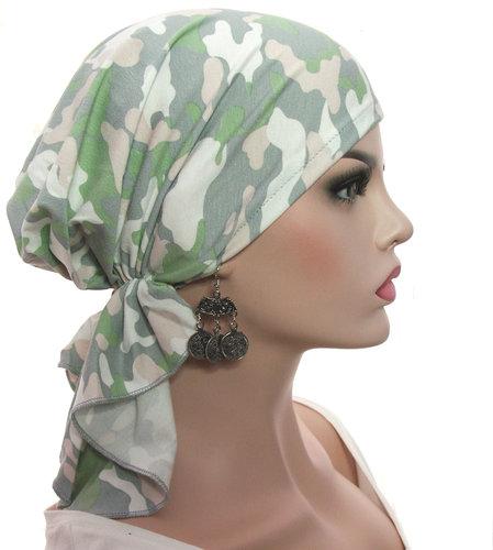 Voorgevormde bandana voor chemo haarverlies camouflage pastel kleuren