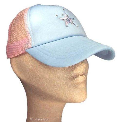 Dames mesh cap strass steentjes kleur blauw met roze