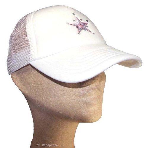 Dames mesh cap strass steentjes kleur wit