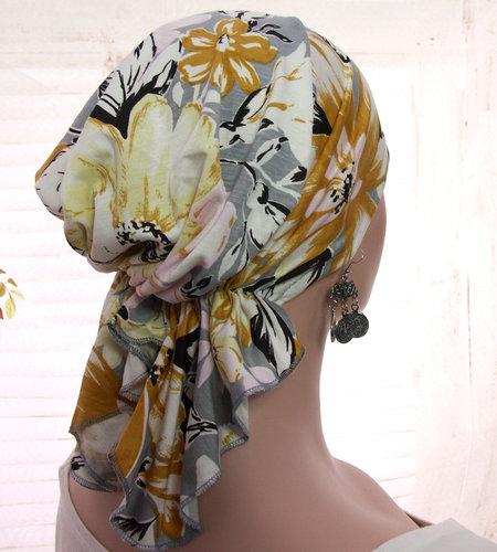 Voorgevormde bandana voor chemo haarverlies grijs met bloemenprint