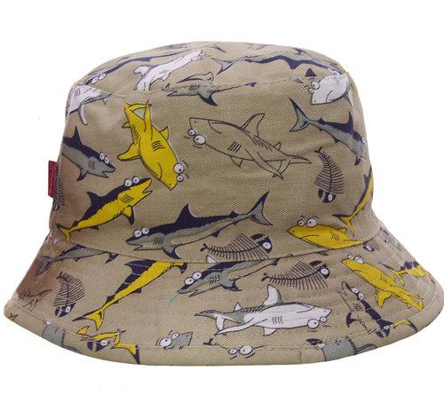 Katoenen jongens hoedje met print van haaien in drie kleuren!