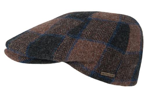 Hatland VERLIN wool winterpet met ruit bruin met blauw