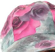 Regenhoedje met bloemen kleur grijs met roze