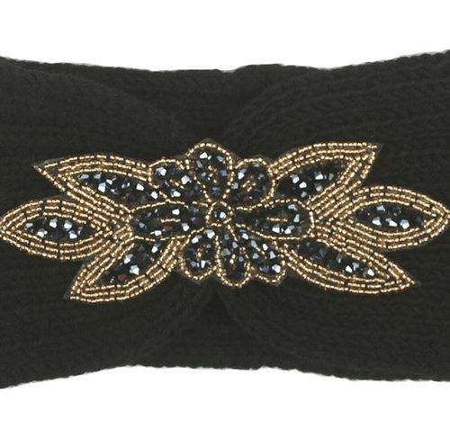 Zwarte hoofdband haarband met bloem applicatie