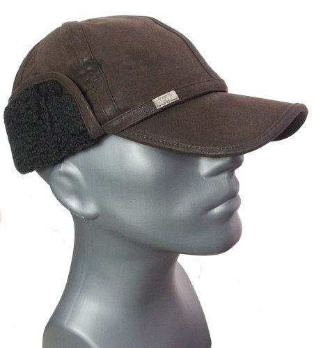 Warme leder look cap met oorwarmers kleur bruin