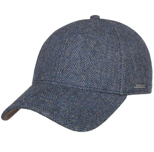 Stetson wollen baseball cap blauw visgraat motief