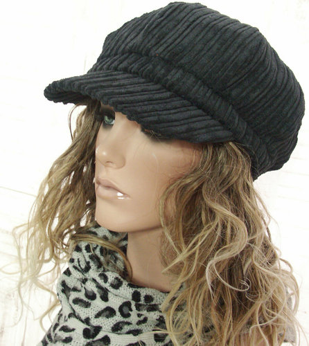 Trendy gevoerde rib baret ballonmuts in zwart
