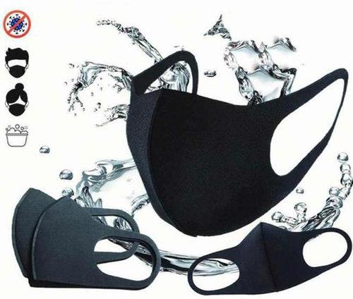 Mondkapje mondmasker wasbaar herbruikbaar zwart S/M