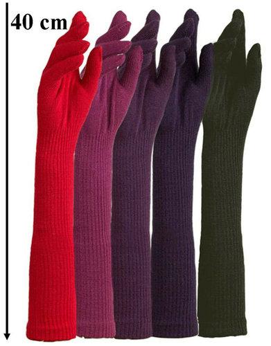 Extra lange handschoenen van acryl kleur donker oudroze