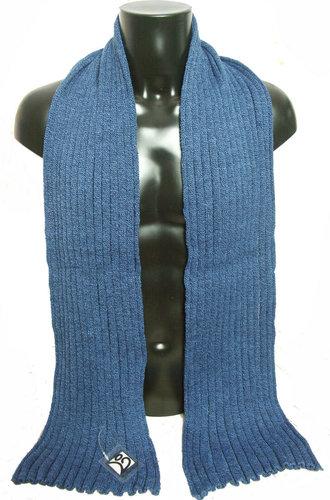 Herensjaal wintersjaal van acryl kleur blauw gemeleerd