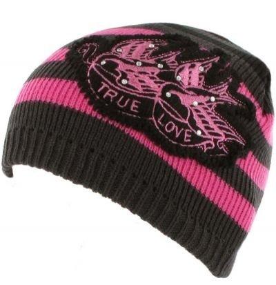 TRUE LOVE  Miami Ink Pink Black Beanie muts dames