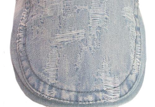 Vintage zomer pet denim flatcap spijkerstof kleur licht blauw maat one size