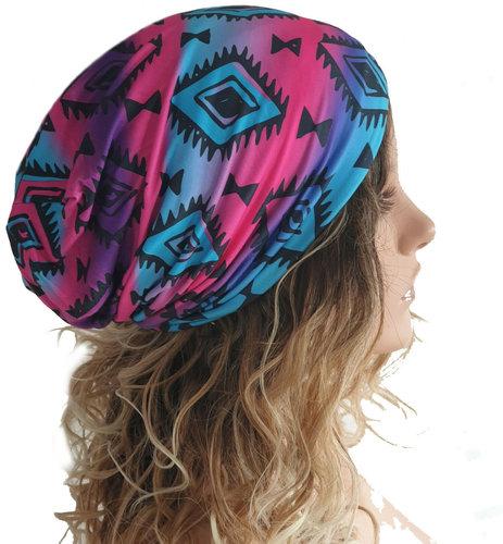 Muts beanie aztec print ethno chemomuts kleur blauw paars roze maat one size