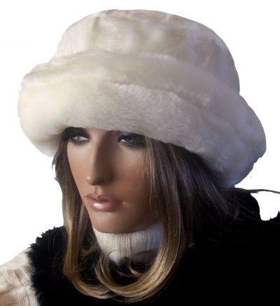 KALINKA offwhite Stylish Fake Fur Hat