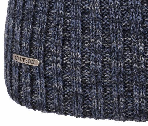 Stetson wollen muts met omslag kleur blauw melee maat one size