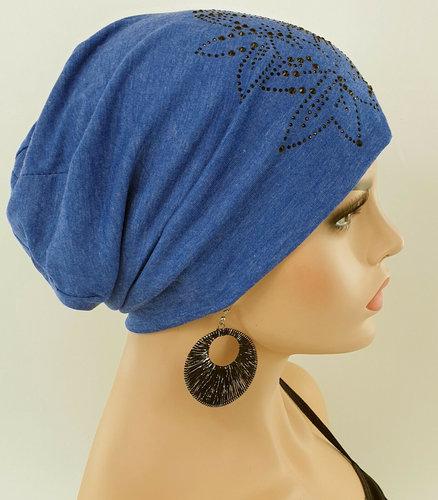 Chemomuts beanie te gebruiken bij haarverlies na een chemokuur kleur blauw melee