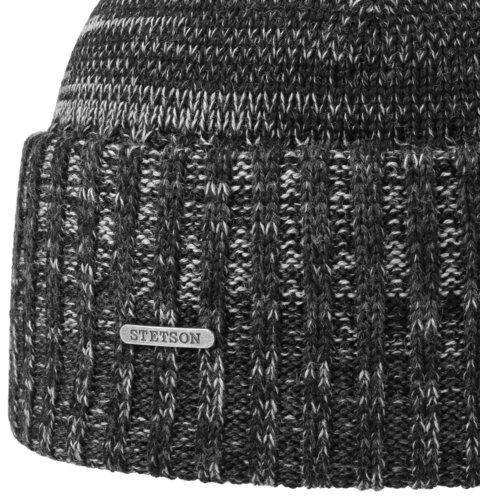 Stetson beanie Virgin Wool Mélange wollen muts met omslag kleur zwart grijs melee maat one size