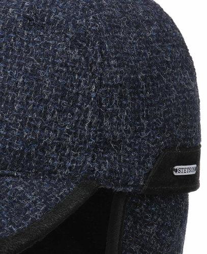 Stetson baseball cap wollen winterpet met oorwarmers kleur blauw
