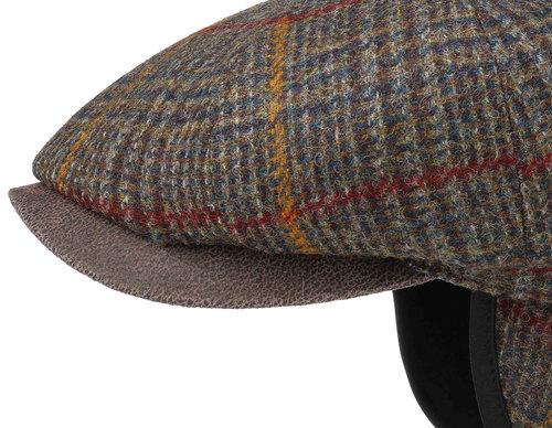 Stetson Hatteras earflap wool/leather flatcap met oorflappen kleur groen bruin