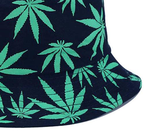 Bucket hat vissershoed donkerblauw met print wiet bladeren maat one size