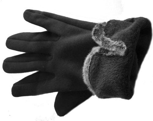 Elegante dames handschoenen touchscreen met bontrandje en knoopjes kleur zwart maat S M