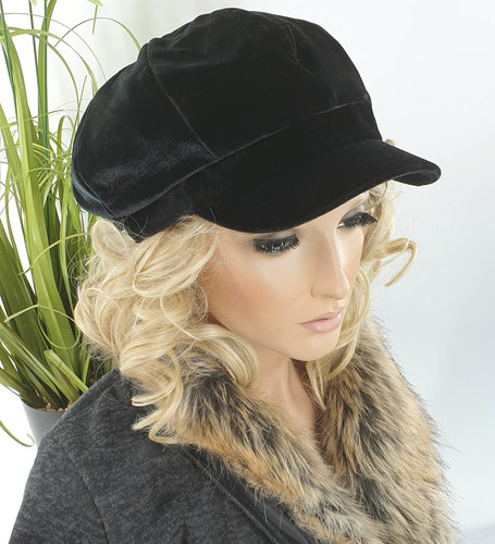 Gevoerde dames baret pet met klepje velvet zwart fluweel stof