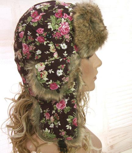 Pilotenmuts bontmuts met oorflappen dames retro bruin met bloemenprint