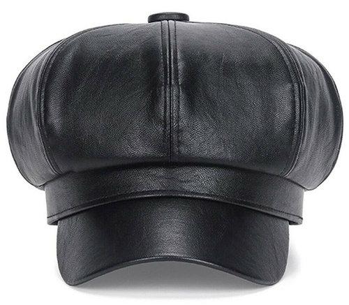 Baret met klepje van kunstleer kleur zwart