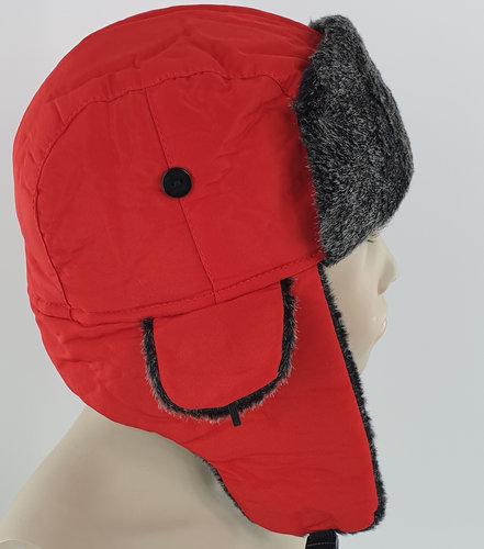 Kindermuts trapper pilotenmuts wintermuts met oorflappen kleur rood 3 tot 6 jaar